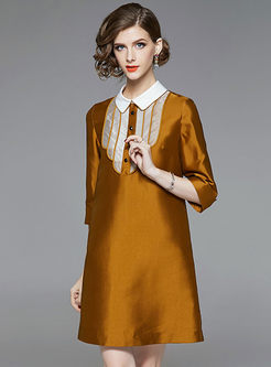 Color-blocked Lapel Three Quarters Sleeve Shift Dress
