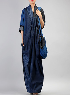 V-neck Striped Patchwork Denim Maxi Dress