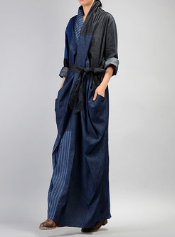 Stylish Cross V-neck Denim Paneled Skinny Dress