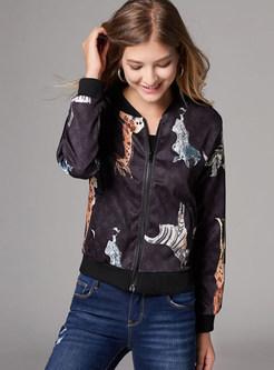 Fashion O-neck Animal Print Zippered Slim Coat