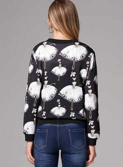 Casual print Long Sleeve Slim Short Coat