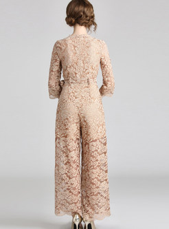 V-neck Three Quarters Sleeve Lace Bowknot Jumpsuits