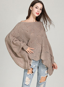 Khaki Loose Bat Sleeve Hollow Out Sweater