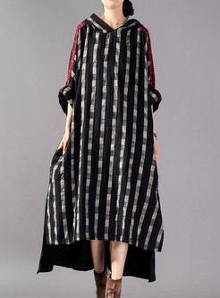 Stylish Plaid Patchwork Hooded High-Low Dress