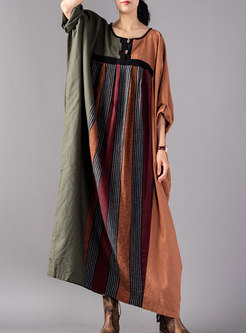Dolman-Sleeve Color-blocked Plus Size Straight Maxi Dress