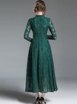 Green V-neck Long Sleeve Lace Big Hem Maxi Dress