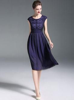 Stylish Lace Splicing Gathered Waist Sleeveless Slim Dress