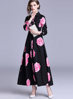 Lapel Long Sleeve Single-breasted Print Maxi Dress