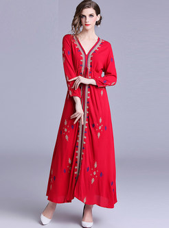 Ethnic V-neck Embroidered Chiffon Maxi Dress