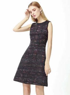 Brief Grid O-neck Sleeveless A Line Mini Dress