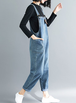 Casual Blue Distressed Denim Overalls With Big Pockets