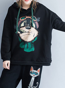 Casual Black Cartoon Print Loose Hooded Sweatshirt
