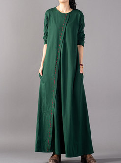 Brief Green Solid Plus Size Irregular Knitted Maxi Dress