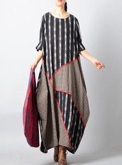 Fashion Retro Black Linen Shift Asymmetric Maxi Dress