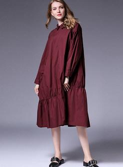 Turn Down Collar Pleated Big Hem Cotton Dress