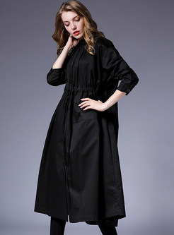 Casual Loose Lapel Tie-waist Single-breasted Trench Coat