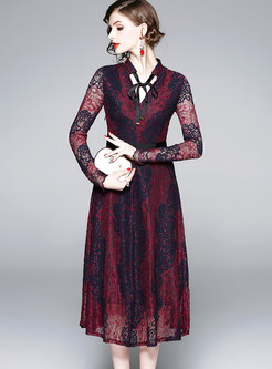 Sexy V-neck Long Sleeve Tied Hollow Out Dress