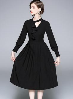 Solid Color Flouncing Pleated Big Hem Dress