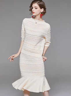 Solid Color Hollow Out Half Sleeve Knitted Top & Hollow Out Sheath Mermaid Skirt