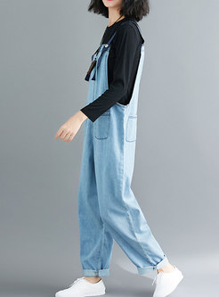 Stylish Blue Solid Denim All-match Overalls With Pockets
