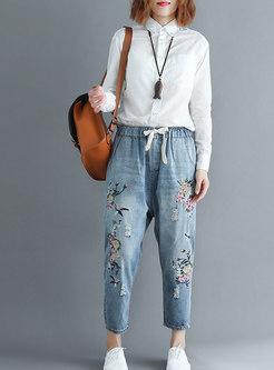 Autumn Trendy Denim Embroidered Plus Size Harem Pants