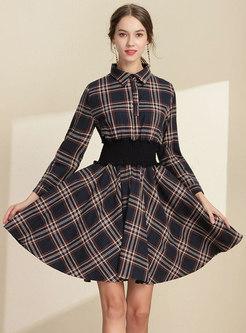 Trendy Shirt Collar Elastic Waist Big Hem Grid Midi Dress
