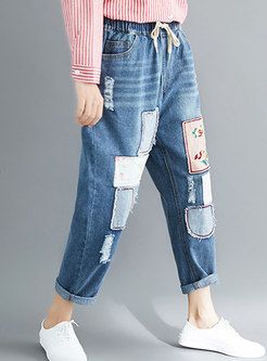 Trendy Blue Denim Embroidered Elastic Waist Pants