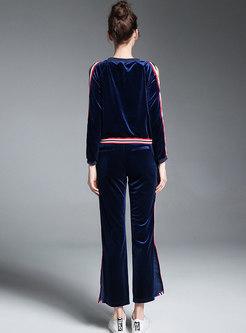 Striped Splicing Off Shoulder Sweatshirt & High Waist Side-slit Wide Leg Pants