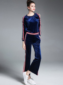 Striped Splicing Off Shoulder Sweatshirt & High Waist Side-slit Wide Leg Pants