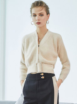 Solid Color V-neck Belted Zip-up Sweater