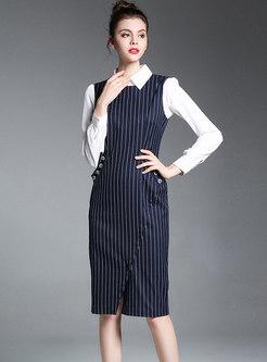Trendy Striped O-neck Slit Bodycon Dress