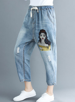 Stylish Elastic Waist Denim Pants With Ripped Detailing