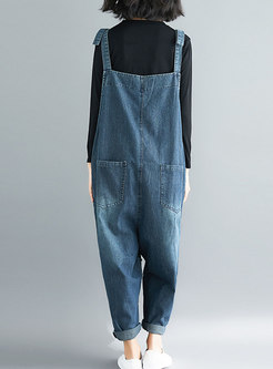 Stylish Blue Distressed Denim All-matched Overalls