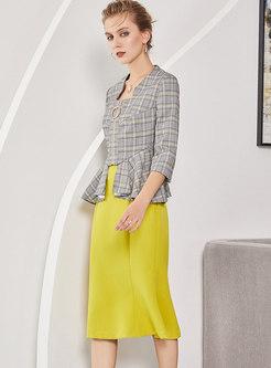 Grid Three Quarters Sleeve Falbala Slim Blazer & Yellow Sheath Mermaid Skirt