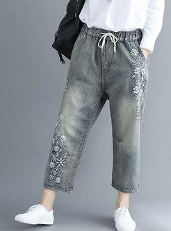 Trendy Embroidered Elastic Waist Plus Size Denim Pants