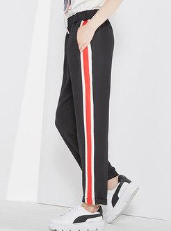 Casual Striped Splicing Elastic Waist Pencil Pants