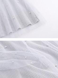Elastic Waist Multi-layer Mesh Pleated Sweet Skirt