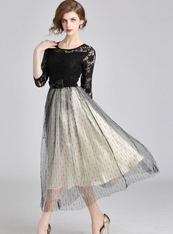 Stylish Lace-paneled Mesh Embroidered Maxi Dress
