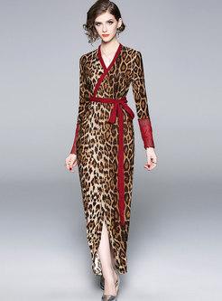 Sexy V-neck Leopard High Waist Slit Pencil Maxi Dress