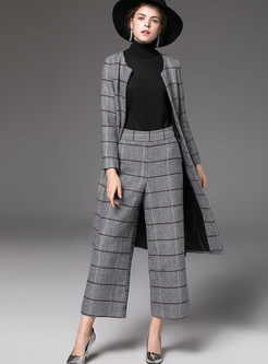 Plaid Zip-up Woolen Coat & Pocket Loose Straight Pants