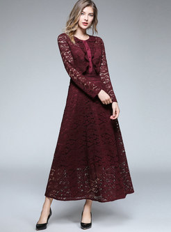 Elegant Red Long Sleeve Lace Hollow Out Flounce Maxi Dress