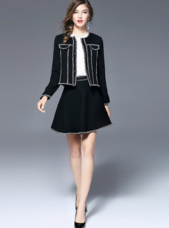 Chic Splicing Single-breasted Slim Short Coat