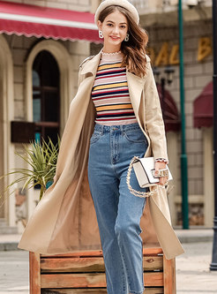 Pure Color High Neck Belted Slim Knitted Sweater