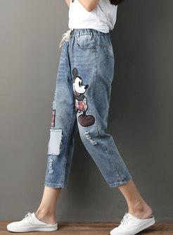 Trendy Blue Plus Size Elastic Waist Denim Pants With Cartoon