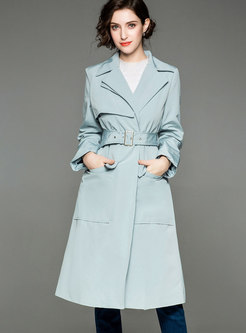 Stylish Blue Gathered Waist Pocket Straight Trench Coat