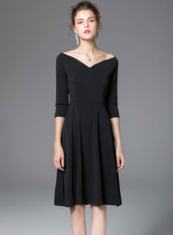 Chic Black Slash Neck High Waist Hem Dress