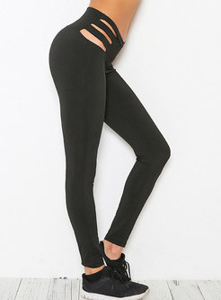 Fashionable Hollow Out Elastic Yoga Fitness Leggings