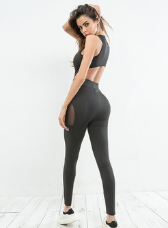 Stylish See-through Letter Print Yoga Jumpsuit