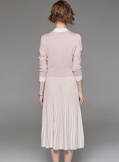 Pink Single-breasted Waist Top & Pleated Slim Skirt