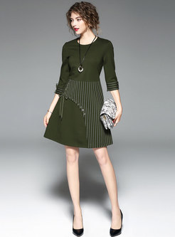Brief Green Three Quarters Sleeve Striped Patchwork Dress